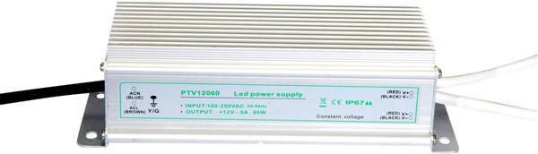 LED-muuntaja 12V 60W, IP67, PTV